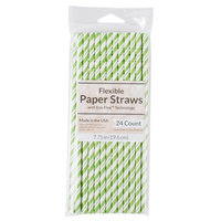 Creative Converting 051162 7 3/4 inch Jumbo Fresh Lime / White Stripe Paper Straw - 24/Pack