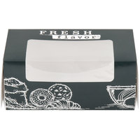 9 inch x 4 1/2 inch x 4 inch White Auto-Popup Window Cake / Bakery / Donut Box with Fresh Print Design   - 100/Case