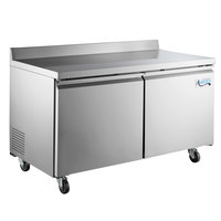 Avantco SS-WT-60F-HC 60 inch Two Door Worktop Freezer with 3 1/2 inch Backsplash