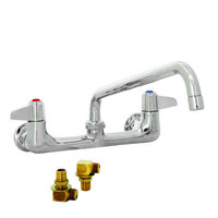 Equip by T&S 5F-8WLS10 Wall Mounted Faucet with 8 inch Adjustable Centers, 10 inch Swing Spout, Laminar Flow Device, Cerama Cartridges, Lever Handles, and Elbows