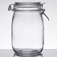 Choice 34 oz. Hinge Top Glass Storage Jar - 4/Pack