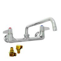 Equip by T&S 5F-8WLS06 Wall Mounted Faucet with 8 inch Adjustable Centers, 6 inch Swing Spout, Laminar Flow Device, Cerama Cartridges, Lever Handles, and Elbows