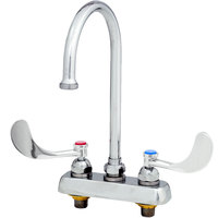 T&S B-1141-XSCR4V15 Deck Mounted Workboard Faucet with 4 inch Centers, 11 3/8 inch Gooseneck Spout, 1.5 GPM Aerator, Cerama Cartridges, and Wrist Action Handles