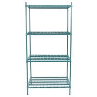 Regency 24 inch x 36 inch x 74 inch Four Shelf Green Epoxy Heavy-Duty Dunnage Shelving Unit - 3200 lb.
