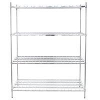 Regency 24 inch x 60 inch x 74 inch Four Shelf Chrome Heavy-Duty Dunnage Shelving Unit - 3200 lb.
