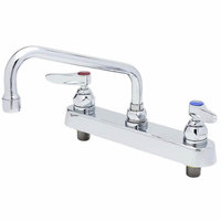 T&S B-1123-XS-F12 Deck Mounted Workboard Faucet with 8 inch Centers, 12 inch Swing Spout, 1.2 GPM Aerator, Eterna Cartridges, and Lever Handles