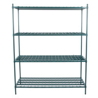 Regency 24 inch x 60 inch x 74 inch Four Shelf Green Epoxy Heavy-Duty Dunnage Shelving Unit - 3200 lb.
