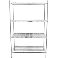 Regency 24 inch x 48 inch x 74 inch Four Shelf Chrome Heavy-Duty Dunnage Shelving Unit - 3200 lb.