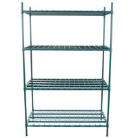 Regency 24 inch x 48 inch x 74 inch Four Shelf Green Epoxy Heavy-Duty Dunnage Shelving Unit - 3200 lb.