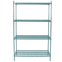 Regency 18 inch x 48 inch x 74 inch Four Shelf Green Epoxy Heavy-Duty Dunnage Shelving Unit - 3200 lb.
