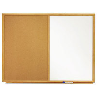 Quartet S554 36 inch x 48 inch Dual Bulletin / Whiteboard with Oak Finish Frame