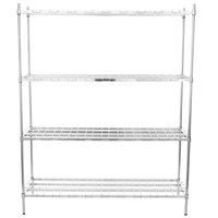 Regency 18 inch x 60 inch x 74 inch Four Shelf Chrome Heavy-Duty Dunnage Shelving Unit - 3200 lb.