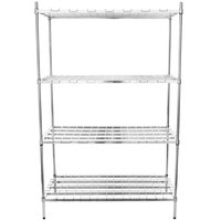 Regency 18 inch x 48 inch x 74 inch Four Shelf Chrome Heavy-Duty Dunnage Shelving Unit - 3200 lb.