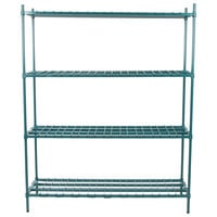Regency 18 inch x 60 inch x 74 inch Four Shelf Green Epoxy Heavy-Duty Dunnage Shelving Unit - 3200 lb.
