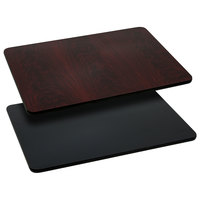 Flash Furniture XU-MBT-2430-GG 24 inch x 30 inch Black / Mahogany Reversible Laminated Rectangular Table Top