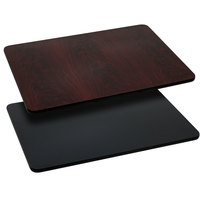 Flash Furniture XU-MBT-3060-GG 30 inch x 60 inch Black / Mahogany Reversible Laminated Rectangular Table Top