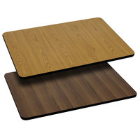 Flash Furniture XU-WNT-3048-GG 30 inch x 48 inch Natural / Walnut Reversible Laminated Rectangular Table Top