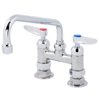 T&S B-0227-CR-WS Deck Mounted Faucet with 4 inch Adjustable Centers, 8 inch Swing Spout, 1.5 GPM Aerator, Cerama Cartridges, and Lever Handles
