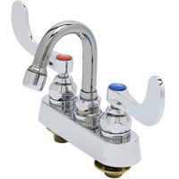 T&S B-1110-131X-WH4 Deck Mounted Workboard Faucet with 4 inch Centers, 5 13/16 inch Gooseneck Spout, 2.2 GPM Aerator, Eterna Cartridges, and Wrist Handles