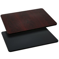 Flash Furniture XU-MBT-3042-GG 30 inch x 42 inch Black / Mahogany Reversible Laminated Rectangular Table Top