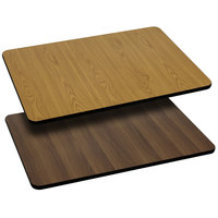 Flash Furniture XU-WNT-3042-GG 30 inch x 42 inch Natural / Walnut Reversible Laminated Rectangular Table Top