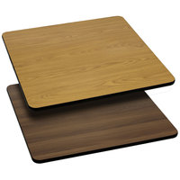 Flash Furniture XU-WNT-3030-GG 30 inch x 30 inch Natural / Walnut Reversible Laminated Square Table Top