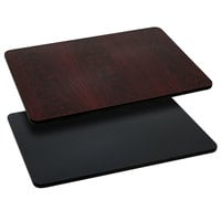 Flash Furniture XU-MBT-3048-GG 30 inch x 48 inch Black / Mahogany Reversible Laminated Rectangular Table Top