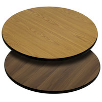 Flash Furniture XU-RD-36-WNT-GG 36 inch Natural / Walnut Reversible Laminated Round Table Top