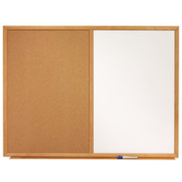 Quartet S553 24 inch x 36 inch Dual Bulletin / Whiteboard with Oak Finish Frame
