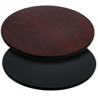 Flash Furniture XU-RD-30-MBT-GG 30 inch Black / Mahogany Reversible Laminated Round Table Top