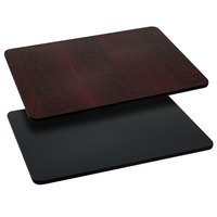 Flash Furniture XU-MBT-2442-GG 24 inch x 42 inch Black / Mahogany Reversible Laminated Rectangular Table Top