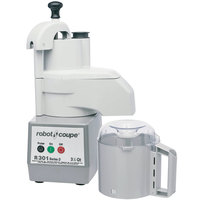 Robot Coupe R301 Combination Continuous Feed Food Processor with 3.5 Qt. Gray Polycarbonate Bowl - 1 1/2 hp
