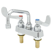 T&S B-1110-XS-WH4 Deck Mounted Workboard Faucet with 4 inch Centers, 6 inch Swing Spout, 2.2 GPM Aerator, Eterna Cartridges, and Wrist Handles