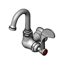 T&S B-0210-131X-CR4 Wall Mounted Single Hole Faucet with 5 5/8 inch Gooseneck Spout, Stream Regulator Outlet, Cerama Cartridges, and Wrist Handle