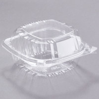 Dart C57PST1 6 inch x 5 13/16 inch x 3 inch ClearSeal Hinged Lid Plastic Container - 500/Case