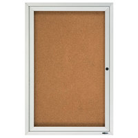 Quartet 2363 36 inch x 24 inch Enclosed Hinged 1 Door Silver Aluminum Cork Board Cabinet