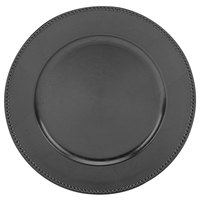 Tabletop Classics TR-6655 13 inch Black Round Polypropylene Charger Plate with Beaded Rim