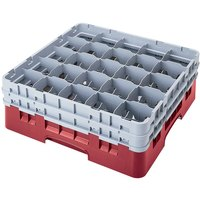 Cambro 25S958416 Camrack Customizable 10 1/8 inch High Customizable Cranberry 25 Compartment Glass Rack