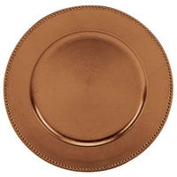 Tabletop Classics TRC-6655 13 inch Copper Round Polypropylene Charger Plate with Beaded Rim