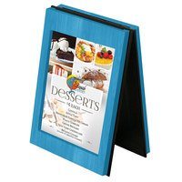 Menu Solutions CHRT4-SKY BLUE Charleston 4 inch x 6 inch Sky Blue Two View Wooden Table Tent