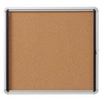 Quartet EIHC2730 27 inch x 30 inch Enclosed Hinged 1 Door Silver Aluminum Cork Board Cabinet
