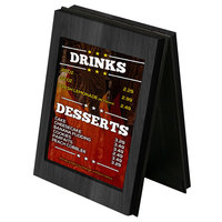 Menu Solutions CHRT7 Charleston 5 inch x 7 inch Black Two View Wooden Table Tent