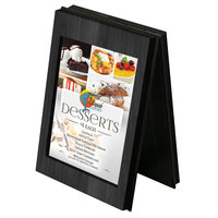 Menu Solutions CHRT4-BLACK Charleston 4 inch x 6 inch Black Two View Wooden Table Tent