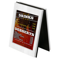 Menu Solutions CHRT7 Charleston 5 inch x 7 inch White Wash Two View Wooden Table Tent