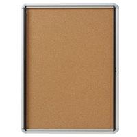 Quartet EIHC3930 39 inch x 30 inch Enclosed Hinged 1 Door Silver Aluminum Cork Board Cabinet