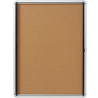 Quartet EIHC3930 39 inch x 30 inch Enclosed Hinged 1 Door Silver Aluminum Cork Board Cabinet