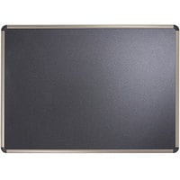 Quartet B364T 36 inch x 48 inch Black Embossed Foam Bulletin Board with Euro Titanium Aluminum Frame