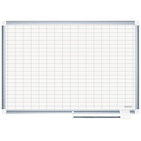 MasterVision CR0630830 24 inch x 36 inch Magnetic 1 inch x 2 inch Gridded Porcelain Whiteboard with Silver Aluminum Frame
