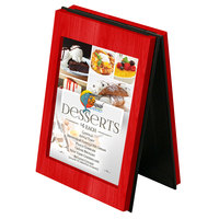 Menu Solutions CHRT4-BERRY Charleston 4 inch x 6 inch Berry Two View Wooden Table Tent