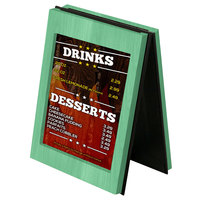 Menu Solutions CHRT7 Charleston 5 inch x 7 inch Washed Teal Two View Wooden Table Tent